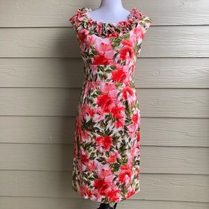 London Times Floral Sleeveless Sheath Dress Size 8